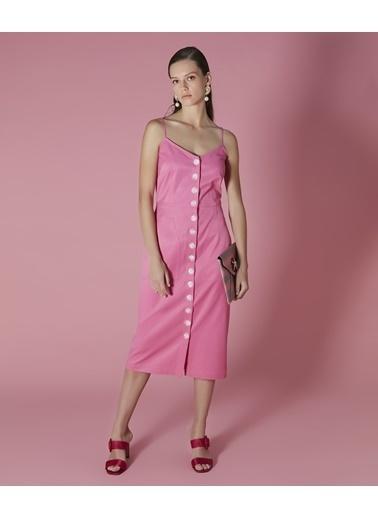 Ipekyol Düğmeli İp Askılı Midi Elbise Pembe